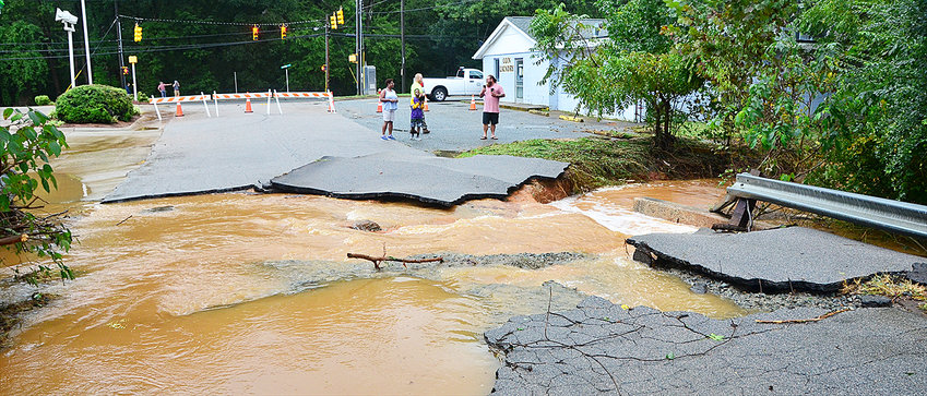 The culvert on Pittsboro Elementary School Road washed out when Robeson Creek flooded during Hurricane Florence