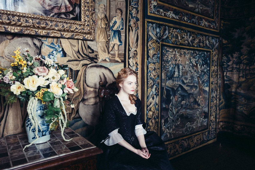 Emma Stone stars along with Rachel Weisz and Olivia Colman in 'The Favourite'