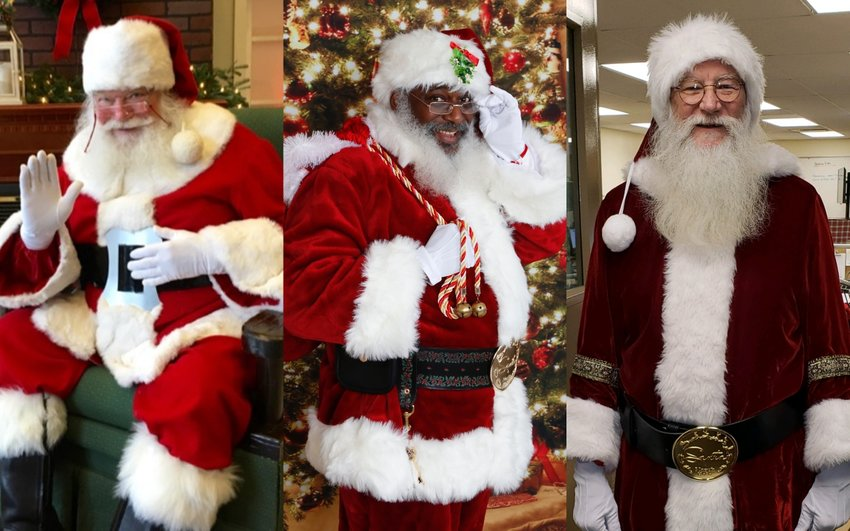 "Playing Santa Claus is more than a job for these three men -- it represents an opportunity to give back. Pictured from left to right are ""Santa Al"" Capehart, ""Diamond Star Santa"" or ""Santa Fabian"" Williams and ""Santa Norm"" Hull."