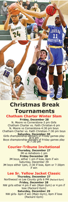 Four teams will see action in post holiday tourneys. Both Chatham Charter girls and boys will see play beginning on Friday, at Chatham Charter. Jordan-Matthews boys begin Thursday, December 27 in Asheboro and NW girls will play in the Yellow Jacket Christmas Classic, beginning Thursday, December 27.