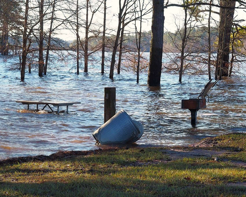 High water at Jordan Lake in Chatham County continues to create flooding conditions in many spots, including at the Ebenezer Church Recreation Area shown here.