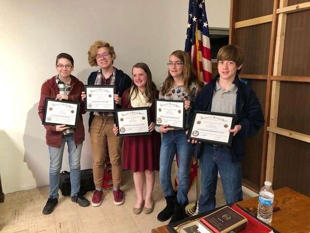Pictured above, from left, are Abbey Bulbrook, Chase Miller, Elizabeth Dupree, Isabella Segnere and Nathaniel Hull, win-ners of the awards pre-sented by Joe Wagner Veterans of Foreign Wars Post 7313 in Pittsboro.