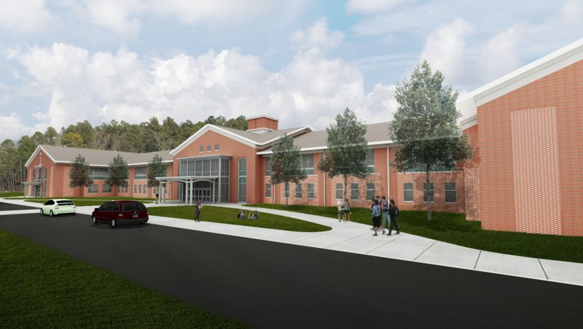 A rendering of Seaforth High School, a $74.8 million project under construction on Seaforth Road in Pittsboro. The school will be 209,000 square feet and is scheduled to be completed in August 2021.
