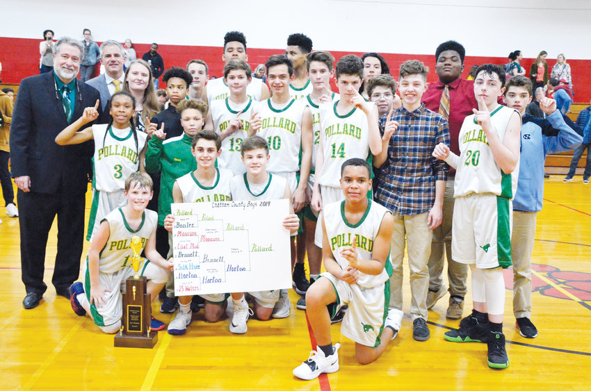 The Chatham County middle school boy's tournament championship was decided Friday night in Goldston with Margaret Pollard topping Horton decisively 67-32. The victorious Mustangs are pictured show off its first place hardware.