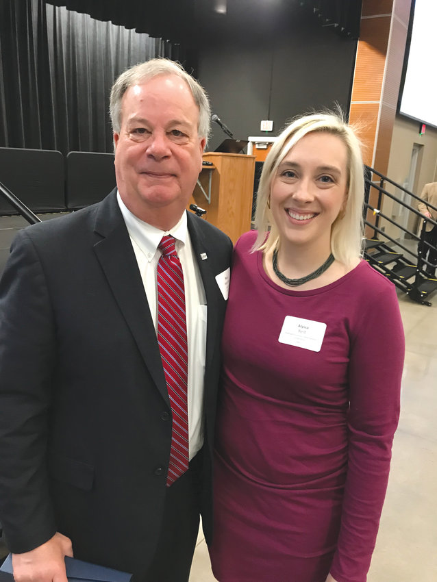 Retiring CCCC President Dr. T. Eston 'Bud' Marchant poses with Chatham EDC President Alyssa Byrd at EDC's annual Opportunity Chatham breakfast last week.