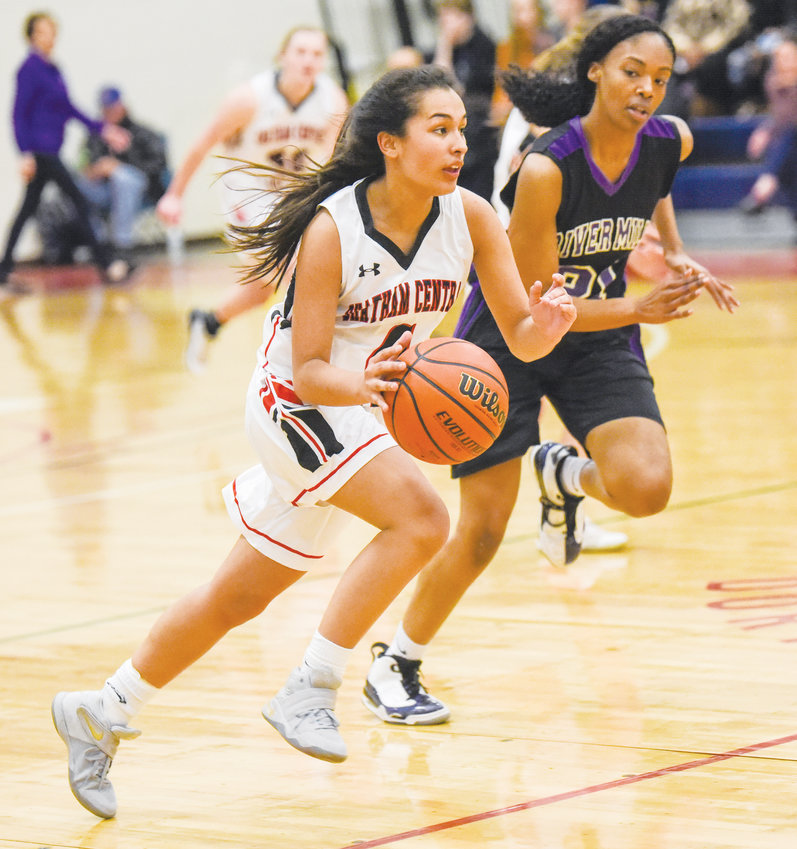 Chatham Central's Eliana Phillips heads up court after making a steal on Friday night in the Lady Bears 73-42 beat down of River Mill in the CTH tournament finals.