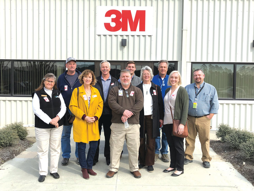 The 3M plant hosted a tour with members of the Chatham Economic Development Corporation, Pittsboro Mayor Cindy Perry, Pittsboro Commissioners Jay Farrel and Bette Wilson Foley, Alan Byrd of Chatham County Emergency Management, and Cathy Swindell, Director of Industry Services at Central Carolina Community College who managed the training of 3M's first employees when it opened.