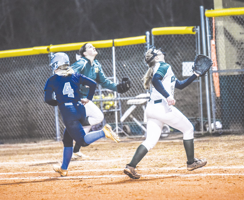 Northwood's Hannah Weigle (6) gives chase off the mound to corrall a foul ball last week against Union Pines.