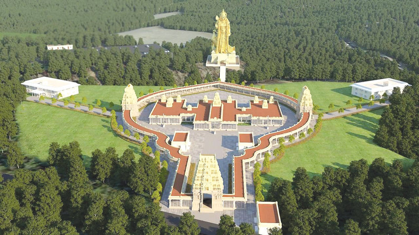 The proposed Carolina Murugan Temple, slated for Moncure just east of U.S. Highway 1, includes a 155-foot statue of the Hindu god Murugan to be placed on the shores of the Deep River.