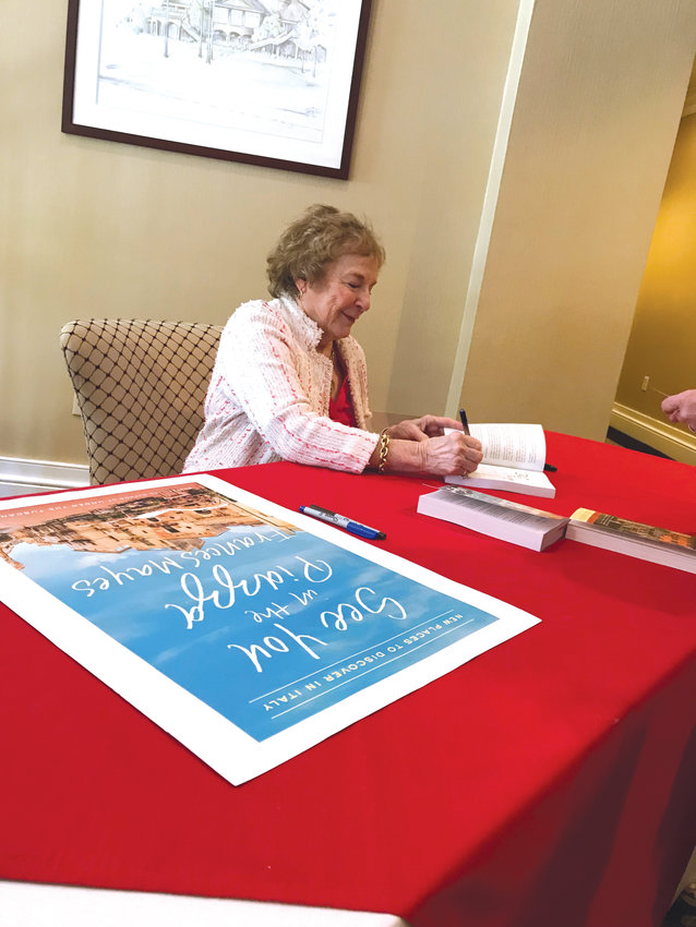 'Tuscan Sun' author Frances Mayes autographs books after speaking at the Chatham Literacy Council's spring fundraising event at Governors Club on April 10.