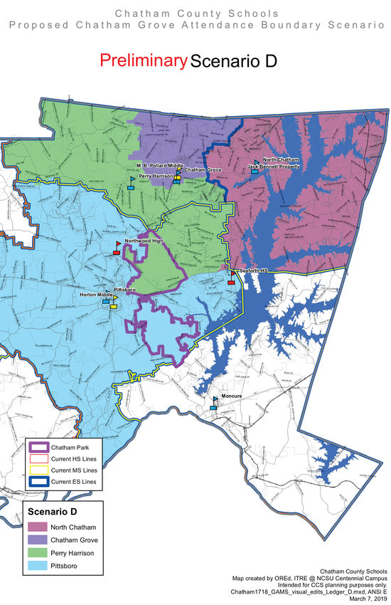This image shows Scenario D, one of the possibilities for redistricting the attendance zone for Chatham Grove Elementary School. Chatham County Schools is currently at work with consultants on a slight change to this scenario.