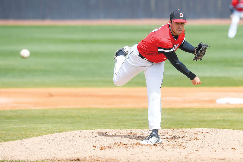 Siler City native and former Jordan-Matthews star Josh Hudson fires to home plate for Davidson College. Hudson picked up the win on Saturday afternoon over Rhode Island to improve to 3-1 on the season.
