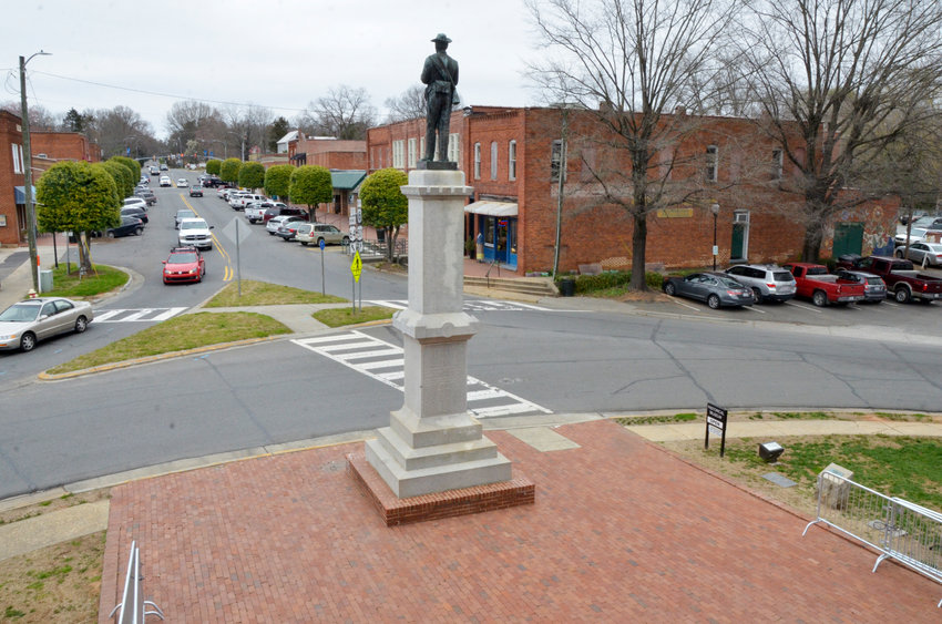 The 'Our Confederate Heroes' monument stands outside the Chatham County Historic Courthouse in downtown Pittsboro.