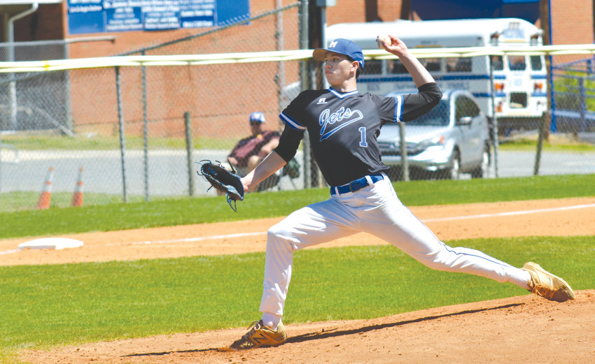 Jordan-Matthew's senior southpaw Luke Hinshaw fires to home plate on Monday afternoon versus Southern Alamance in J-M's Easter Tourney finale. The 3A Patriots escaped Siler City wiith a 2-1 win despite a great effort from Hinshaw.