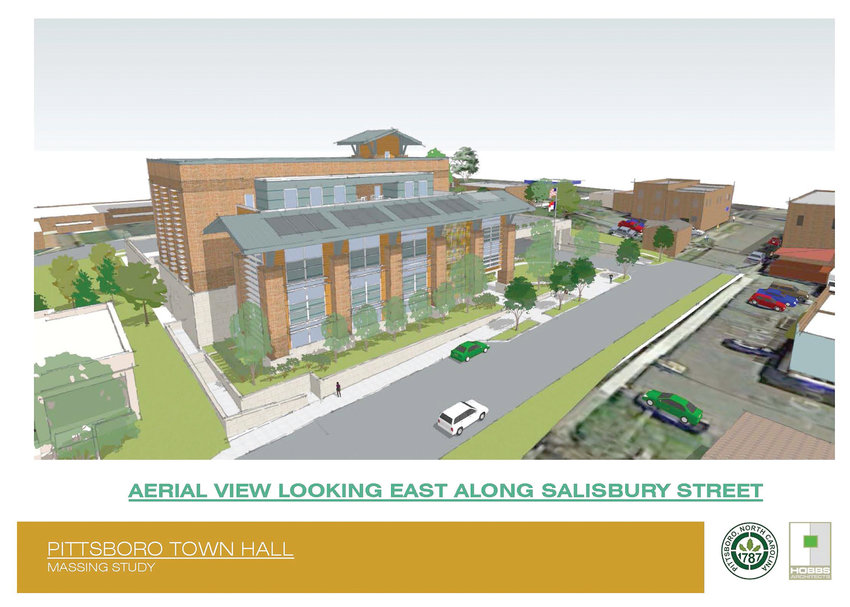 A rendering of Pittsboro's proposed town hall as designed by Hobbs Architects.