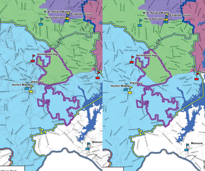 The only difference between Scenarios D, on the left, and E is the inclusion of the entire upper half of Chatham Park, outlined in purple, in the Perry Harrison School attendance zone, shown in green, in Scenario D. In E, the Perry Harrison zone is cut off along U.S. Highway 64, with slight overlap to Hanks Chapel Road.