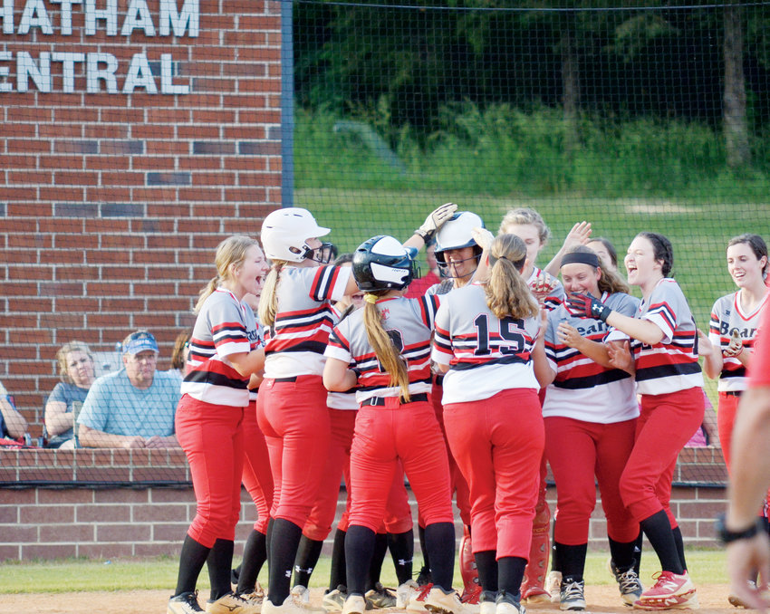 Chatham Central celebrates the first of two homers by Mary Grace Murchison on Thursday, May 9 down in Bear Creek against West Montgomery. The Bears lost the second round contest 3-2 to the Warriors.