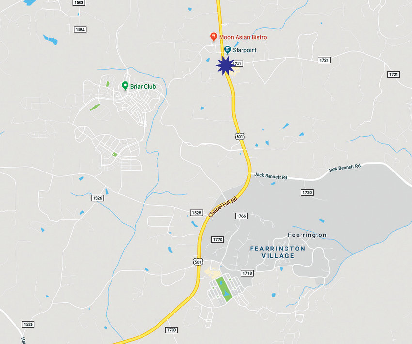The blue star is the location of the U.S. Highway 15-501/Lystra Road intersection in relation to Briar Chapel (labeled as Briar Club on Google Maps) and Fearrington Village.