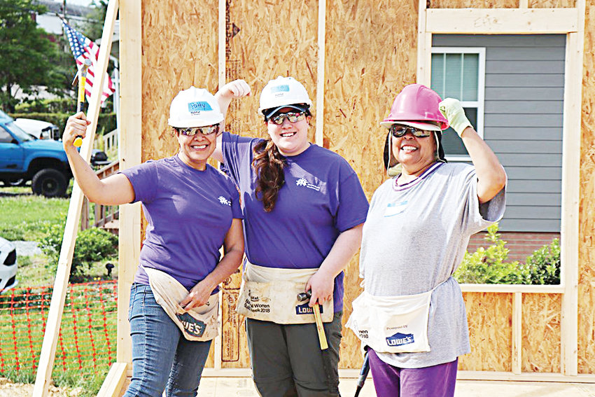 From left to right: Chatham Habitat Family Services Director Patricia Morales, Chatham Habitat ReStore Associate Sabrina Bonomolo, and Ladies of Legacy group organizer Val Gist.