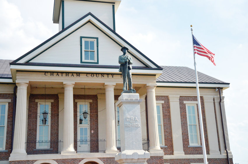 The Confederate statue, placed in 1907, stands facing North on public ground in front of the Historic Chatham County Courthouse. The Chatham County Board of Commissioners voted to enter into an agreement to work with the Winnie Davis Chapter of the United Daughters of the Confederacy on the future of the monument.