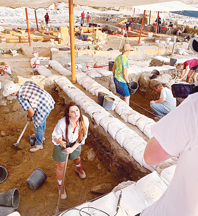 UNC graduate Alanna Pyrtle tapes a television news standup on an excavation site in Huqoq, Israel.