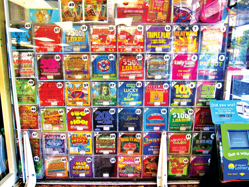 This lottery scratch-off ticket display, showcased at Neal's in Pittsboro, is one of the many in Chatham County, which has 51 retail N.C. Education Lottery locations. Chatham County stores were responsible for more than $14 million in sales in fiscal year 2017-18.