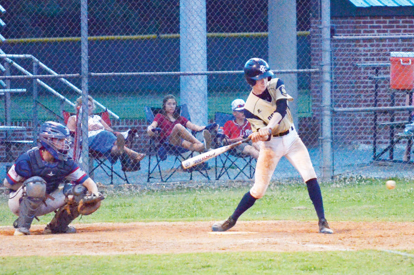 Post 81's Clay Edmondson takes a swing at Grady Lawson field Saturday night in the second of their three game series with Post 66 from Mooresville. Post 81 won the game 6-3, to move to game three.