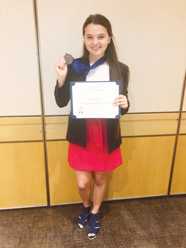 Recent Northwood High School graduate Riley Shaner finished second place in the national Joseph S. Rumbaugh Historical Oration Contest competition of the Sons of the American Revolution during the organization's national convention in California last month. Shaner won the local and state contests on her way to competing in the national contest.