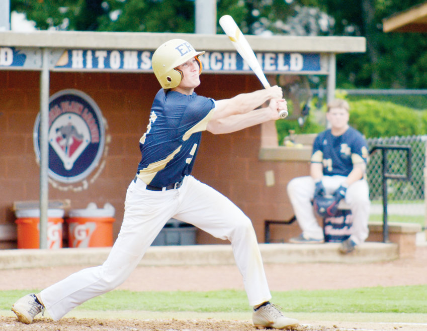 Post 81's Connor Murphy hits one deep in the top of the third inning at Finch Field on Tuesday. The Eastern Randolph team, in a best three-out-of-five tournament with Post 87, lost the game 6-1, and later, the match.