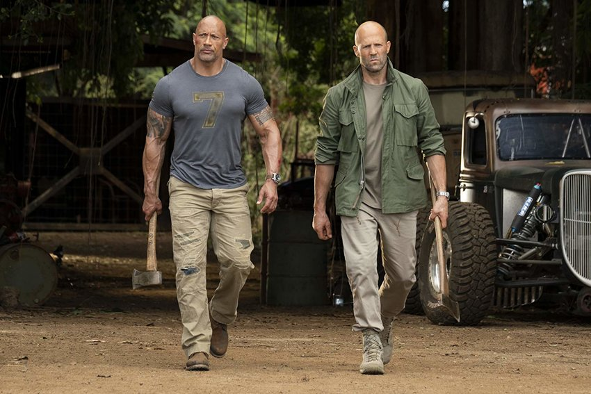 Jason Statham and Dwayne Johnson in 'Fast & Furious Presents: Hobbs & Shaw.'