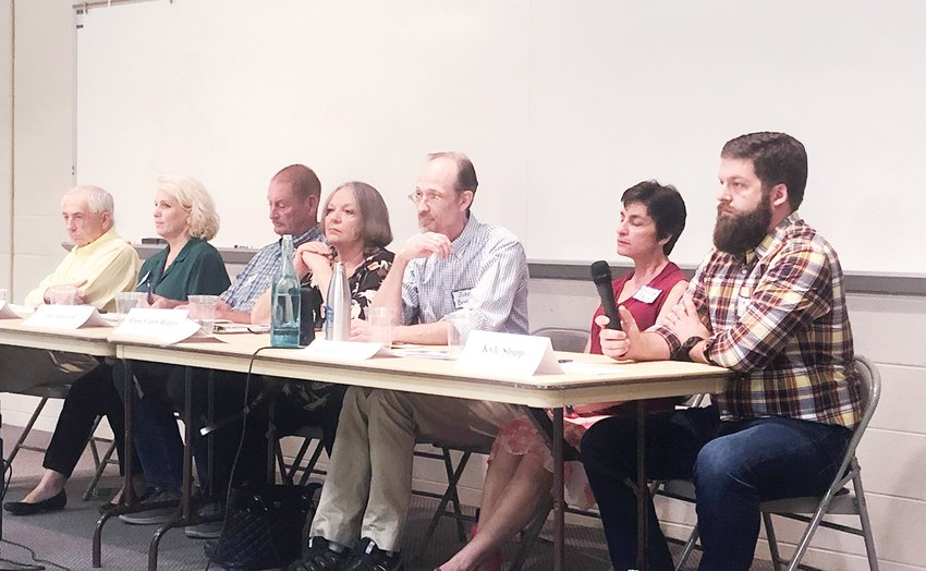 A candidate forum was hosted by the Haw River Assembly on Monday for Pittsboro candidates for town board. From left to right: Jim Nass, running unopposed for mayor and commissioner candidates Heather Johnson, Jay Farrell (incumbent), Pam Cash-Roper, John Bonitz (incumbent), Bridget Perry and Kyle Shipp.