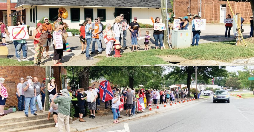 Opposing rallies took to downtown Pittsboro for the first time September 14 to both protest and praise the Chatham County Board of Commissioners' decision to terminate the agreement with the Winnie Davis Chapter of the United Daughters of the Confederacy to keep a Confederate monument in the middle of downtown. Both crowds reached equal numbers that day — the top picture was taken at 10:45 a.m., while the bottom was taken at 12:02 p.m.