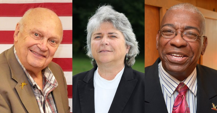 Siler City mayoral candidates for the 2019 election, from left to right: Mayor John Grimes and challengers Jackie Adams and Albert Reddick.