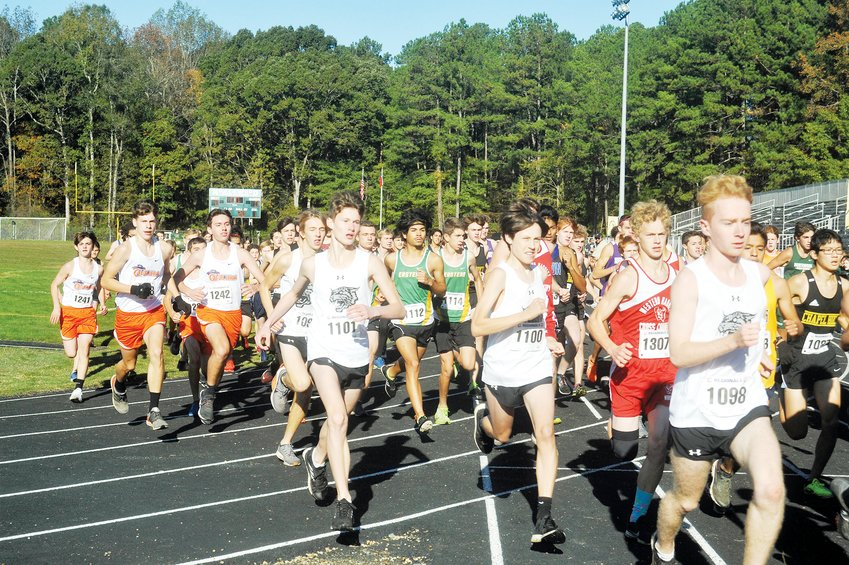 More than 100 athletes from 20 schools in the area competed in last Saturday's Cross Country event, the Mideast Regional 3A, at Northwood High in Pittsboro. With an hour break between gender-specific races, each group started from a line on the football field before funnelling through the gates of the field to the 5000-meter long course.