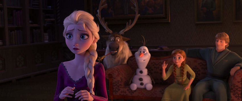 Queen Elsa (far left, voiced by Idinia Menzel) turns away from the reindeer Sven, snowman Olaf (voiced by Josh Gad), Princess Anna (voiced by Kristen Bell) and Kristoff (voiced by Jonathan Groff).