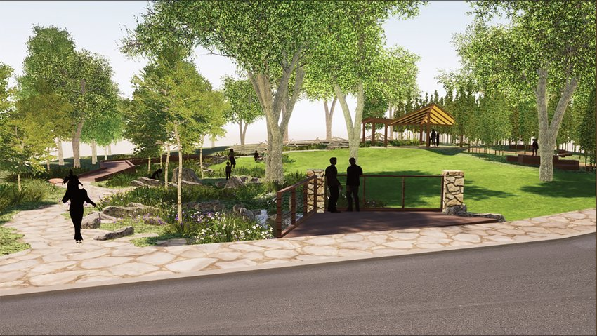 A rendering of initial designs of the proposed Historic Louis Freeman Park show a stone path, historical markers and an arbor. The park will be located in the vicinity of Salisbury and Rectory Drive.