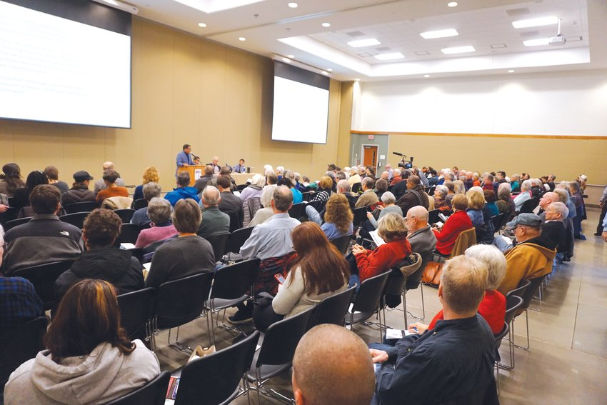 More than 200 attendees listen to a discussion about Confederate history and monuments Saturday at the Chatham County Agriculture & Conference Center in Pittsboro. The panel featured three UNC-Chapel Hill history professors and was organized by Chatham For All and AbundanceNC.