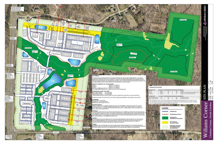 The site plan for Williams Corner, a proposed new multiuse development to be built off of U.S. Highway 15-501 N between Lystra Road to the south and Legend Oaks Drive to the north.