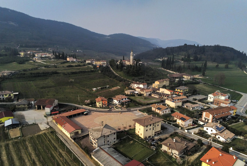 This drone photo, taken by Michelle Bir, shows a birds-eye view of Castegnero, Italy, where two new cases of COVID-19 were just announced..