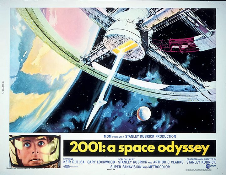 The movie poster for '2001: A Space Odyssey,' Stanley Kubrick's 1968 film.