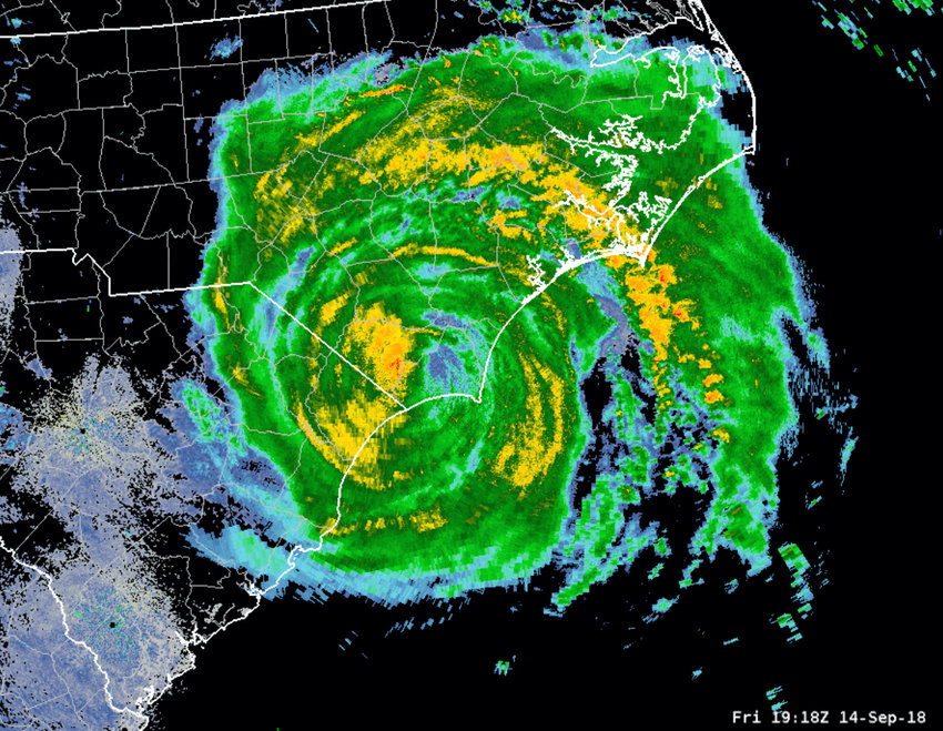 The image shows Hurricane Florence's position as of 7:18 p.m. on Friday, September 14, 2018. Chatham County is fully covered in green at the top left of the storm.