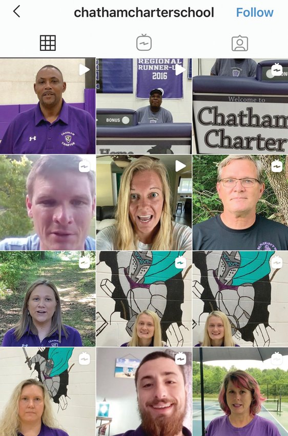 A screenshot of Chatham Charter School's Instagram, which in the last week has been filled with coaches giving video tributes to their 2019-20 teams.
