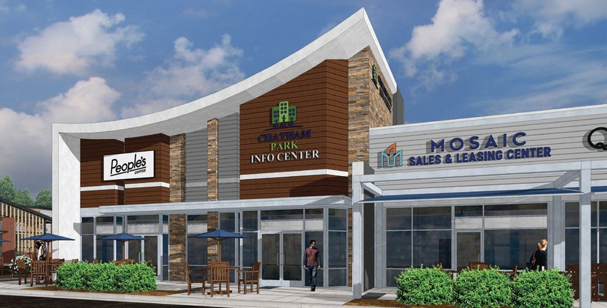 A rendering of one of the buildings at Mosaic at Chatham Park. This building, which will include a location of People's Coffee, a welcome center for Chatham Park and a leasing center for Mosaic, will be completed this year.