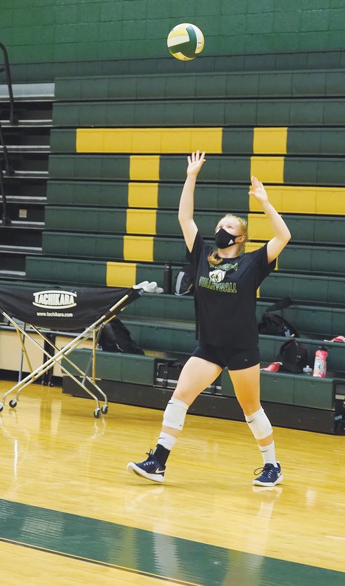 Northwood junior Ainsley Fauth was one of around 20 players at Friday's volleyball workout.