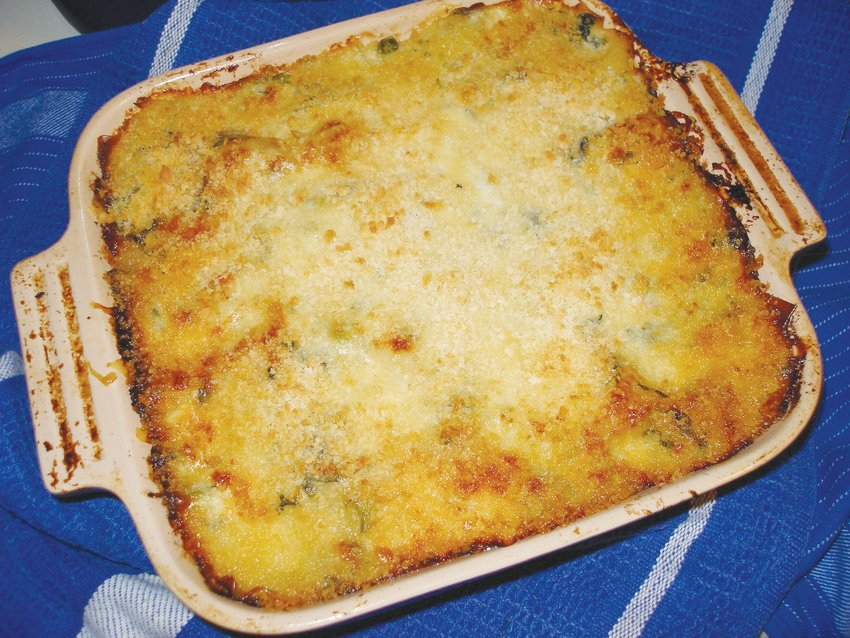 Browned and bubbly lasagna, ready to be served.