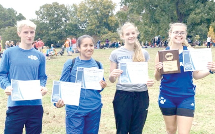 From left, Central Carolina Community College cross country runners Colby Day, Navelly Martinez, Marilynn Richardson and Anna Trotter at the NJCAA Region 10 Championships in Spartanburg, South Carolina, last fall.