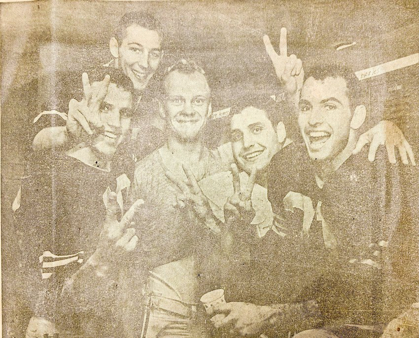 Future Siler City Mayor John Grimes (middle) celebrates Wake Forest football's 1964 home win over Duke with his teammates, including star running back Brian Piccolo (far right).