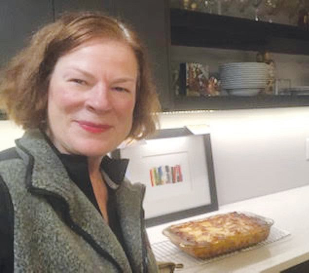 Raleigh Mayor Mary-Ann Baldwin with a finished dish in her kitchen.