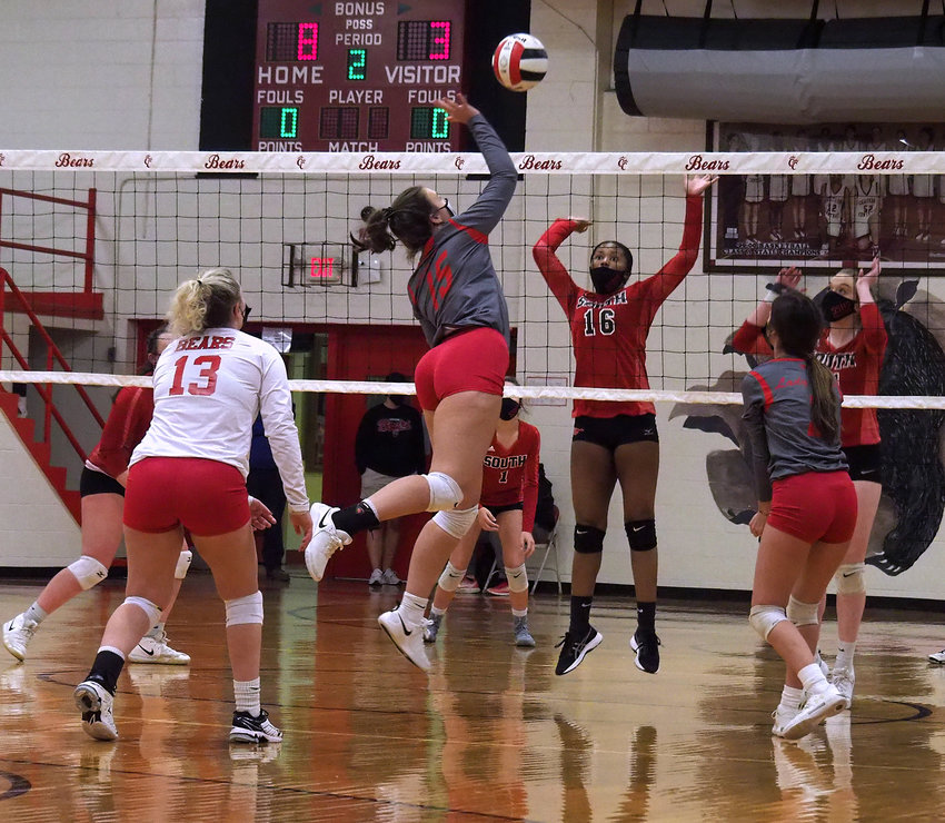 Chatham Central senior Savannah Stilwell (15) rises up for a hit against South Stanly on Nov. 24.
