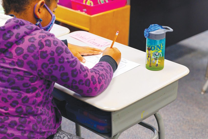 Chatham County Schools began in-person learning last week with daily in-person school. Pictured here is Shakel Conrad, a student in one of Bonlee School's 1st and 2nd grade classrooms last fall.